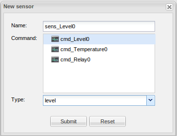 Sensor created to get and set values from the slider object