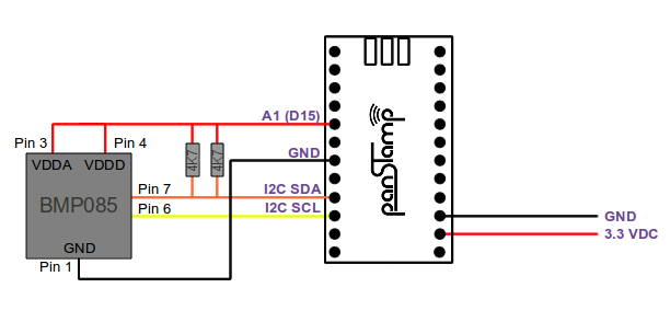 Wiring diagram between BMP085 and panStamp